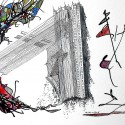 #734, Abstract Drawing, Pen & Ink & watercolor, surrealism. Art under $500