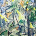 #802 Watercolor, abstract forest