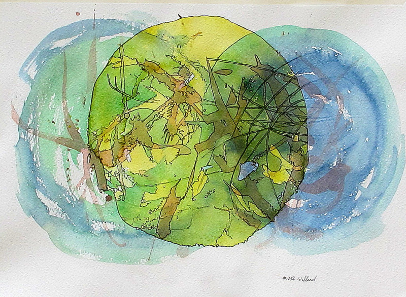 #1056 Abstract watercolor & ink