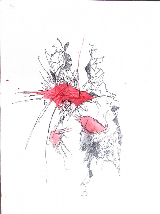 #1137 Mysterious Scribble with Red