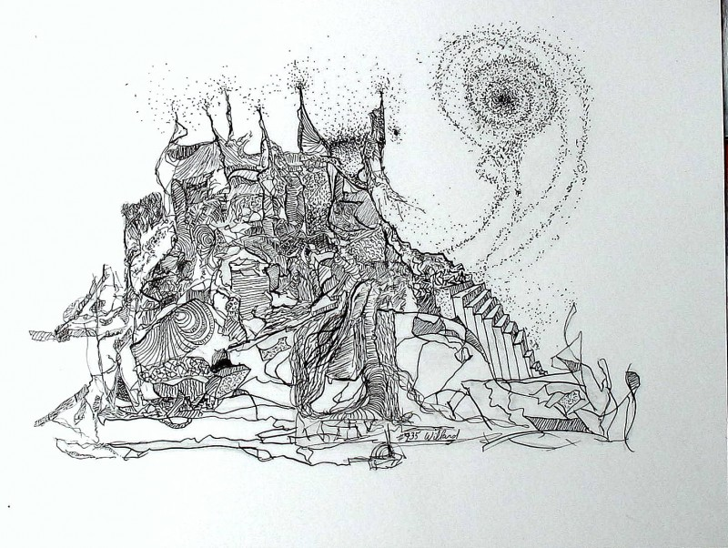 #735 Pen & Ink, Surrealism, abstract Drawing.