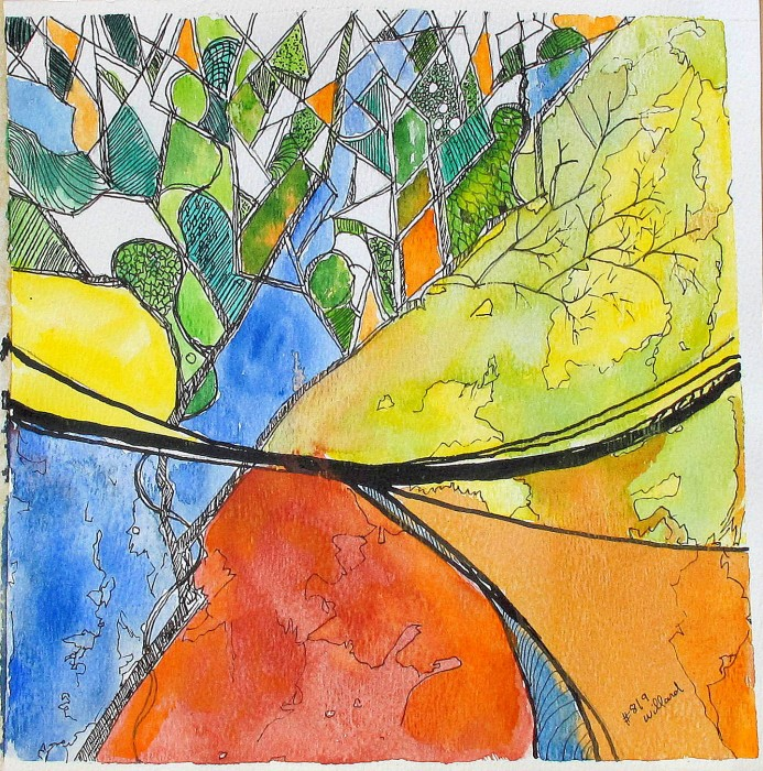 #819 View from studio window, abstract watercolor, pen and ink