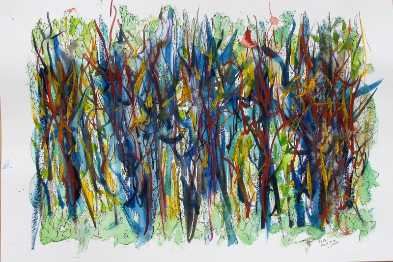 #822 Abstract watercolor, with pen and ink, abstract forest. art under $500