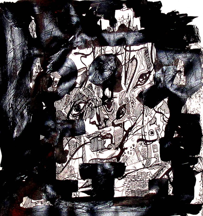 #823, Abstract Drawing, Black and White. Pen & Ink, Acrylic. Face in the Mirror