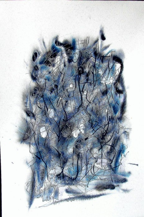 #826 Willard Art, Abstract in blue and gray,