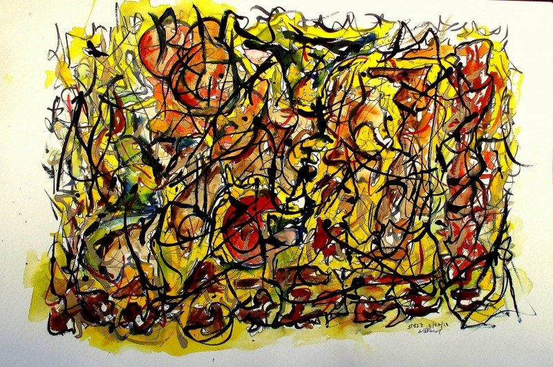 #827 Yellow entanglement, Abstract watercolor, Watercolor with ink.