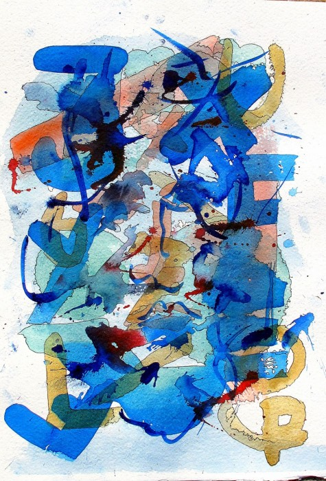 #883 watercolor & ink, abstract